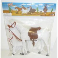CAVALLO FLOCCATO C/PONY IN BUSTA         33X25X7CM