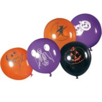 HALLOWEEN 8 PALLONCINI D.30CM 5ASS.IN 3  COLORI VIOLA NERO ARANCIO