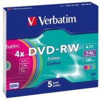 VERBATIM DVD -RW 4X JEWEL SLIM COLOR C.5