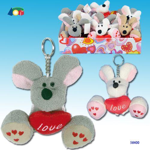 P/chiavi Topo C/piedoni/cuore/scr.love   H.9cm