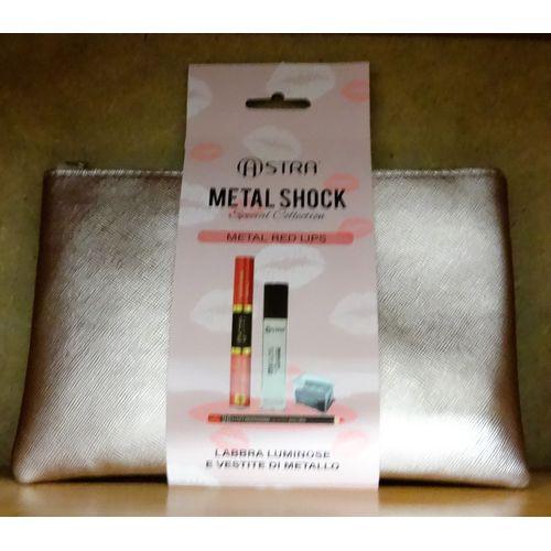 Pochette Metal Red Lips 20x13cm          Rossetto+lucidalabbra+temperino+matita