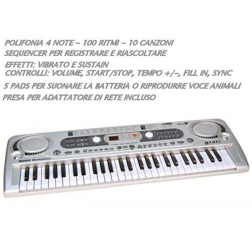 Tastiera Digitale 54tasti C/lettore Mp3  Bontempi 16 5415-70x23x6cm-100 Suoni-+5a