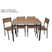 Tavolo 110x70x75cm + 4 Sedie Rovere      Sedie 40x45x86cm