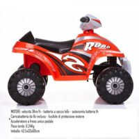 Mini Quad 6v Rosso Velocita' 3 Km/h +3a  68.5x43x48cm-accel/freno Unico Pedal