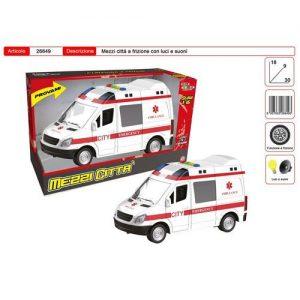Ambulanza Luci E Suoni 18x9x30cm 1:16 +3 Funziona A Frizione