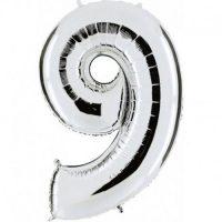 Palloncino Mylar 102cm N.9 Argento