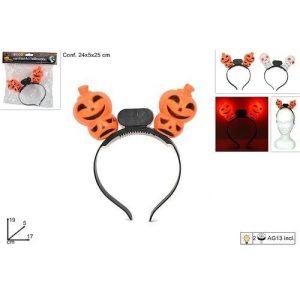 Cerchietto Halloween C/luci 2 Assortim.  Blister 24x5x25cm - Pile Incluse