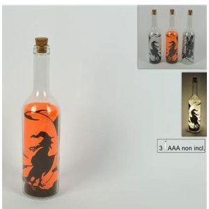 Bottiglia Vetro Halloween C/luci         7x7x29